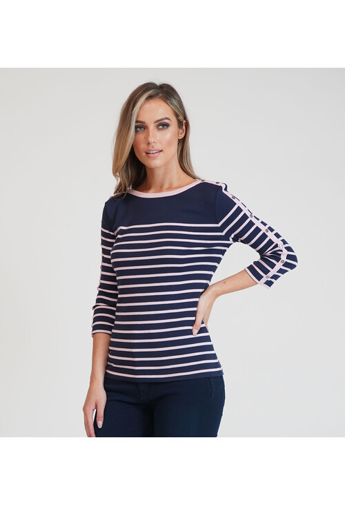 Twist Navy with Pink Stripe Long Sleeve Top