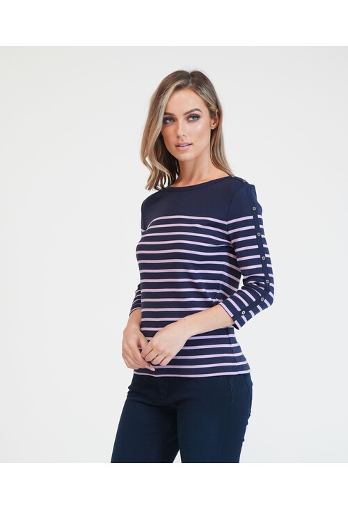 Twist Navy with Lilac Stripe Long Sleeve Top