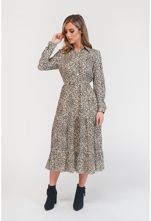 Pamela Scott Leopard Print Shirt Midi Dress