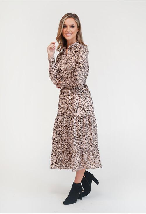 Pamela Scott Leopard Print Shirt Midi Dress