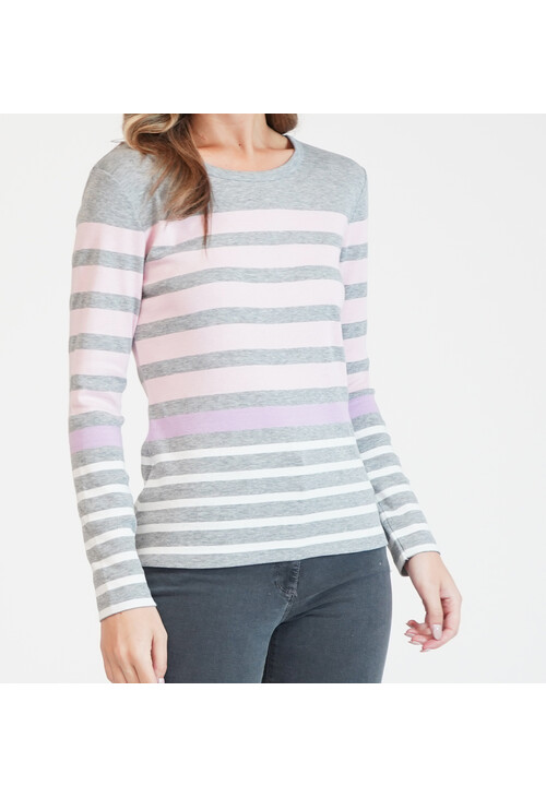 Twist Pink and White Stripe Long Sleeve Top
