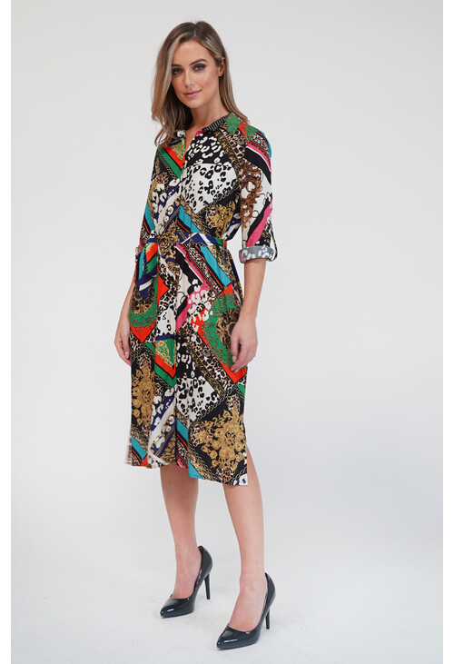 Zapara Chain Print Shirt Dress
