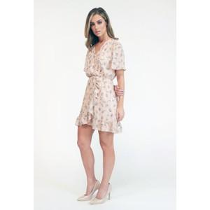 Pamela Scott  Pink Printed Faux Wrap Dress