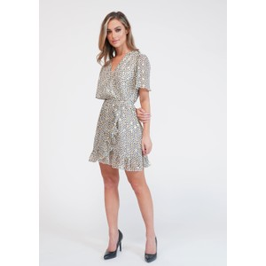 Pamela Scott  Off White Printed Faux Wrap Dress