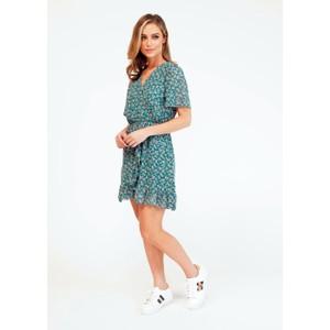 Pamela Scott  Printed Green Faux Wrap Dress