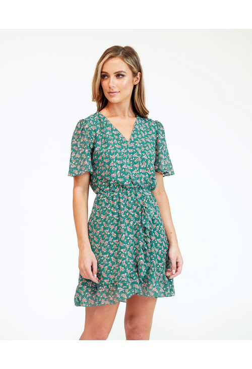 Pamela Scott Printed Green Faux Wrap Dress