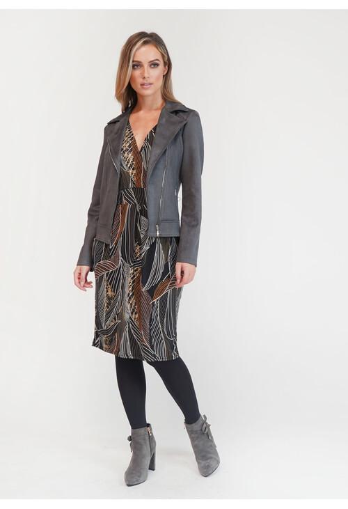 Sophie B Grey Suede Biker Jacket