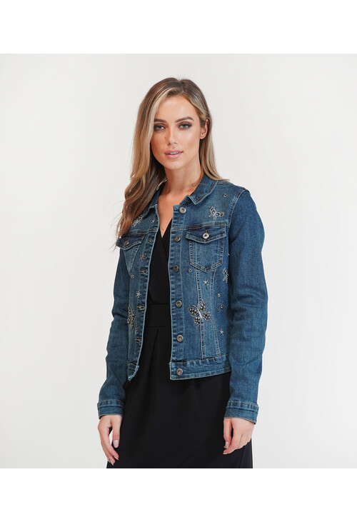 Pamela Scott Butterfly Detail Denim Jacket