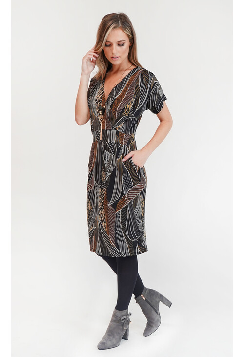 Zapara Leaf Design Dress