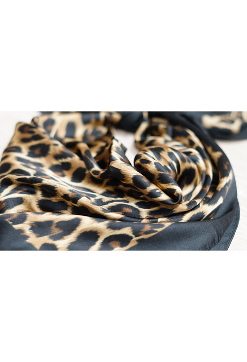 Pamela Scott Leopard Scarf Black Trim