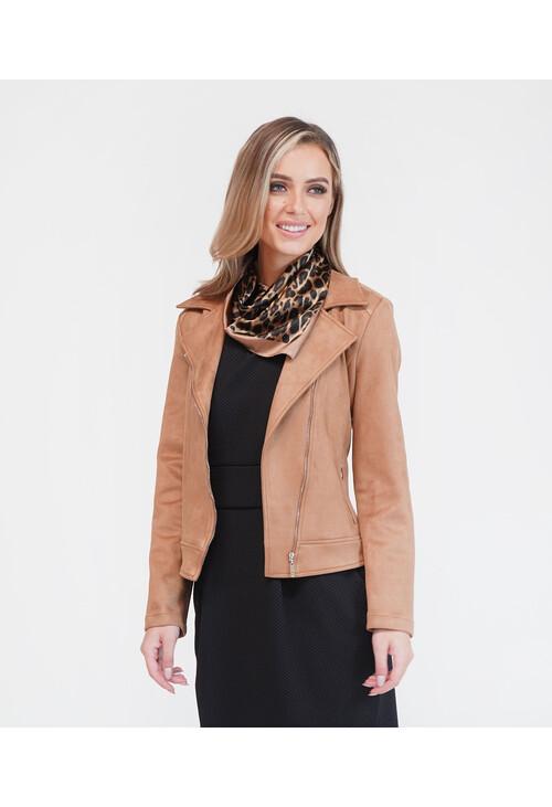 Sophie B Camel Suede Biker Jacket