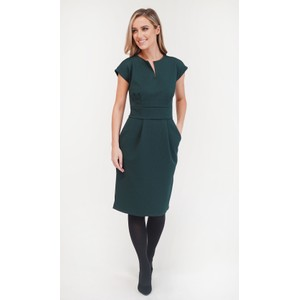Zapara Green Textured Fitted Dress