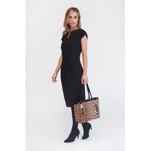 Zapara Black Textured Fitted Dress