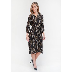 Zapara Black Chain Print Button Through Dress