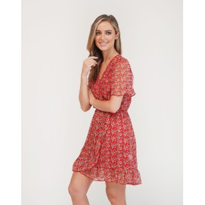 Pamela Scott Red Printed Faux Wrap Dress