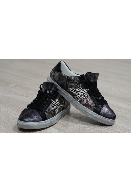 Pamela Scott Silver and Black Metallic Trainer