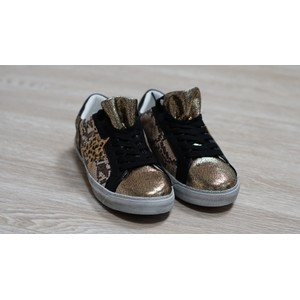 Pamela Scott Gold and Black Metallic Trainer