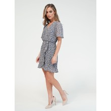 Pamela Scott Blue Printed Faux Wrap Dress