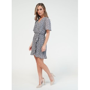 Pamela Scott Blue Printed Faux Wrap Dress