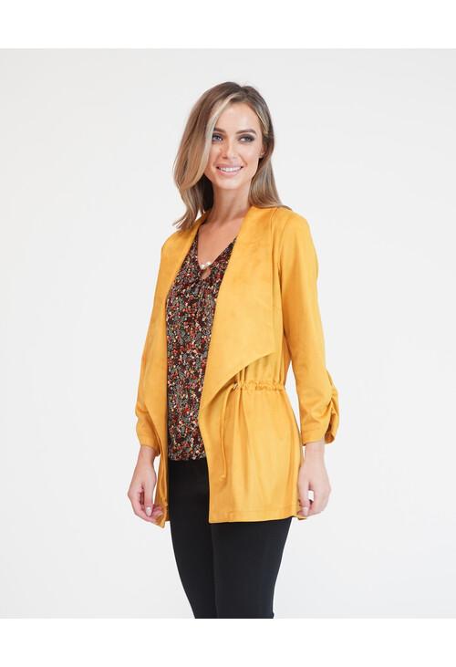 Sophie B Ochre Suede Effect Drawstring Jacket