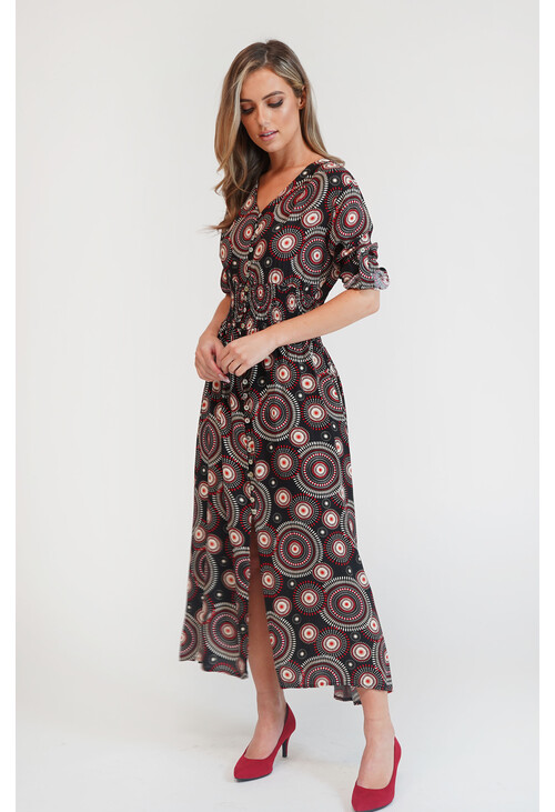 Zapara Black & Red Spiral Pattern Button Detail Dress
