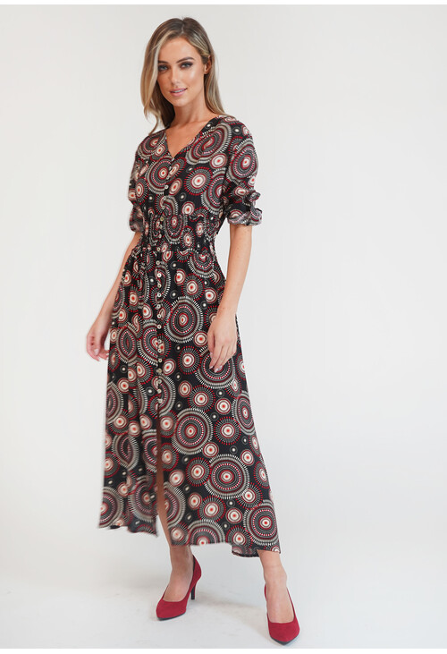 Zapara Black & Red Spiral Pattern Button Detail Dress