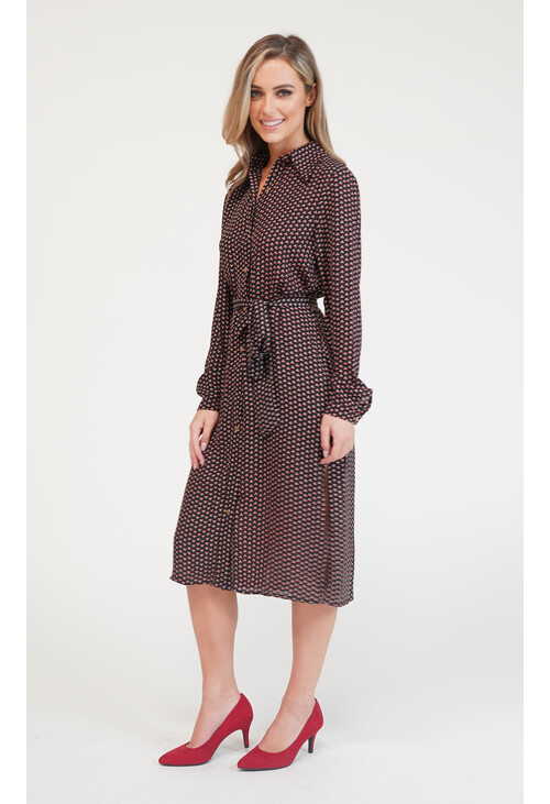 Pamela Scott Vogue Red Black Pattern Collar Dress