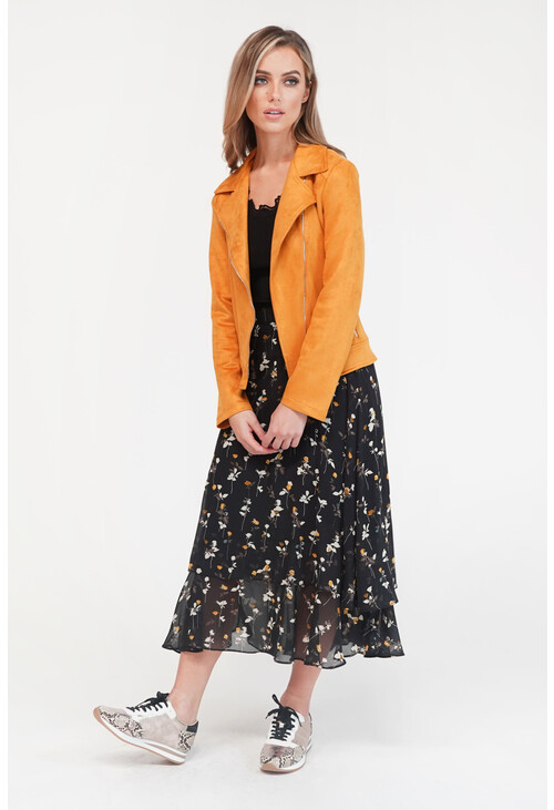 Pamela Scott Black Floral Print Elastic Waist Skirt