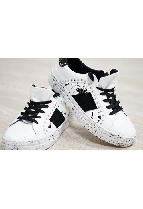 Pamela Scott Paint Splatter White and Black Trainer