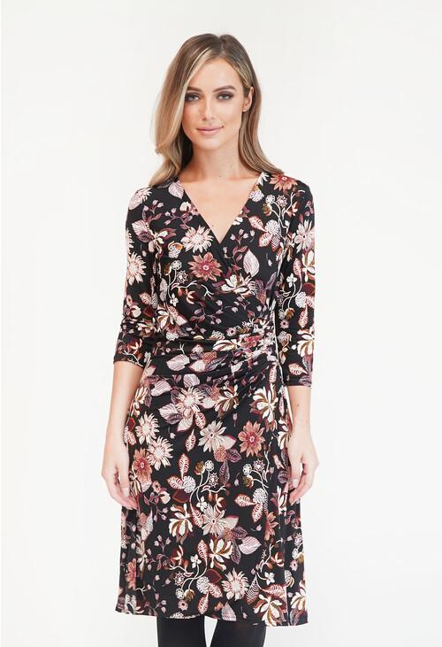 Zapara Black Floral Dress