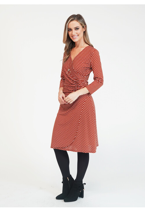 Zapara Rust/Cream Spot Dress