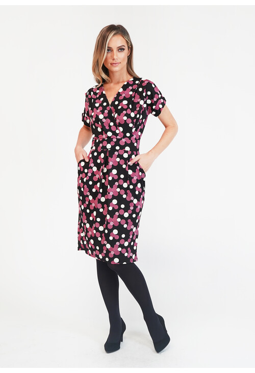 Zapara Black/Purple Spot Dress
