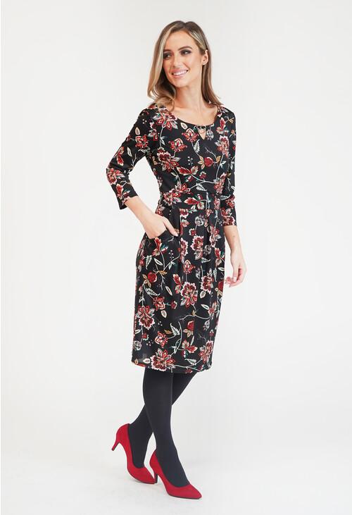 Zapara Black/Lilac Floral Dress