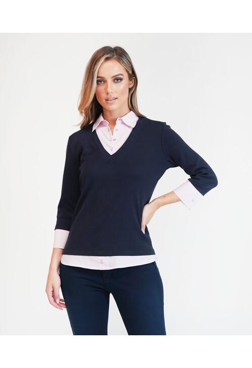 Twist Navy/Purple 2 in 1 Pullover