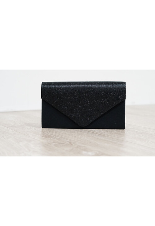 Pamela Scott Black Sparkle and Satin Envelope Clutch