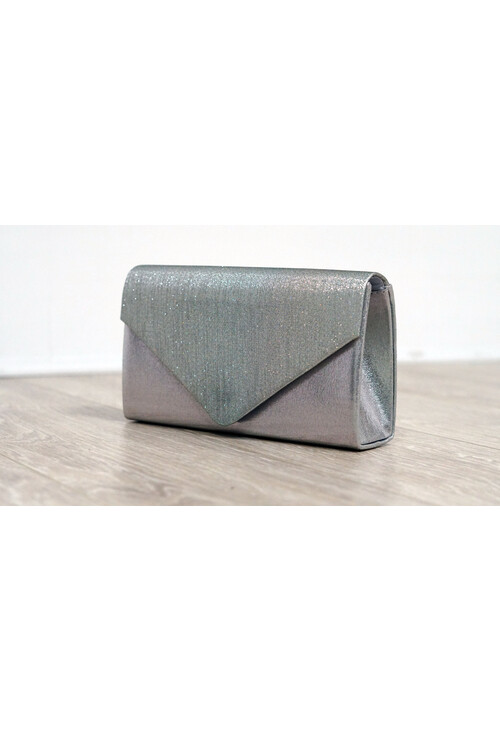Pamela Scott Silver Sparkle and Satin Envelope Clutch