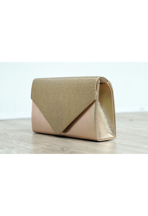 Pamela Scott Gold Sparkle and Satin Envelope Clutch