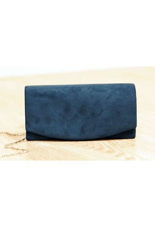 Pamela Scott Navy Faux Suede Clutch