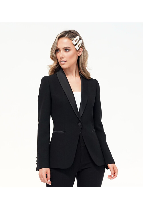Pamela Scott Black Satin Collar Blazer