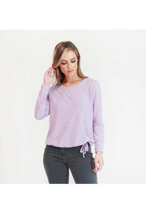 Twist Pearl Detail Lilac Pullover