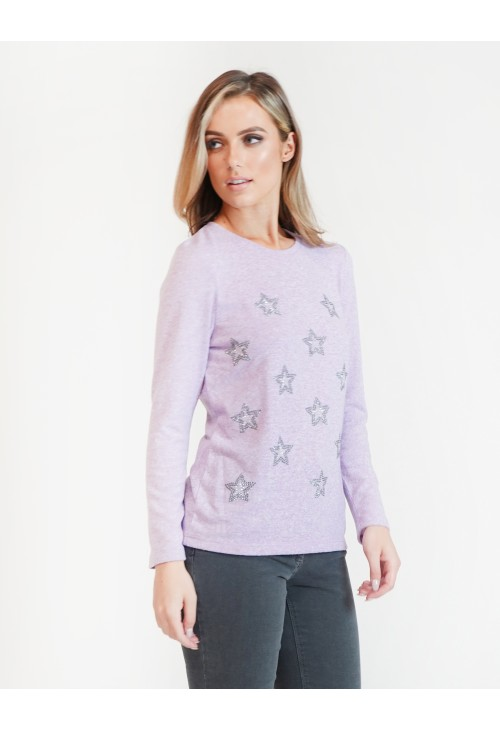 Twist Lilac Star Studded Pullover