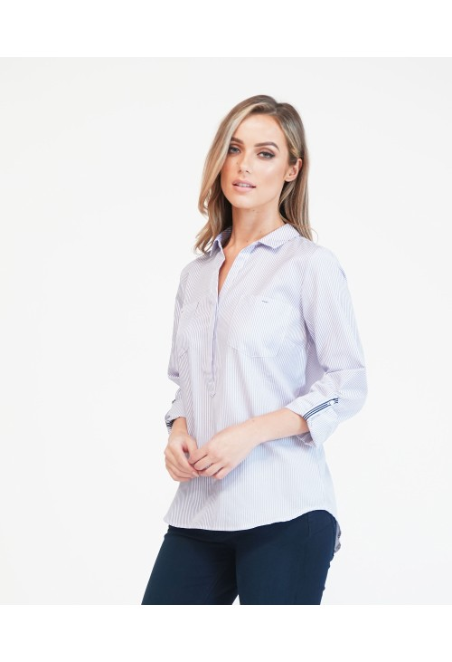 Twist White With Lavender Stripes Blouse