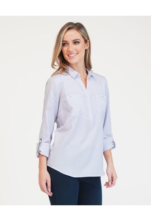 Twist White With Lavender Stripes Blouse