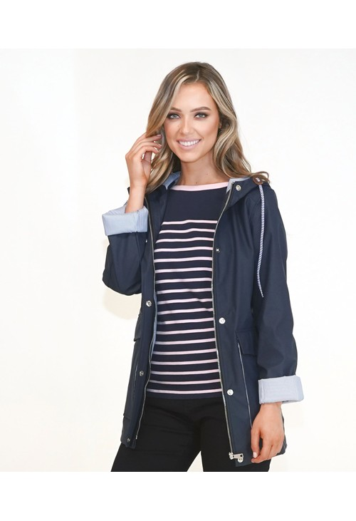 Pamela Scott Navy Raincoat