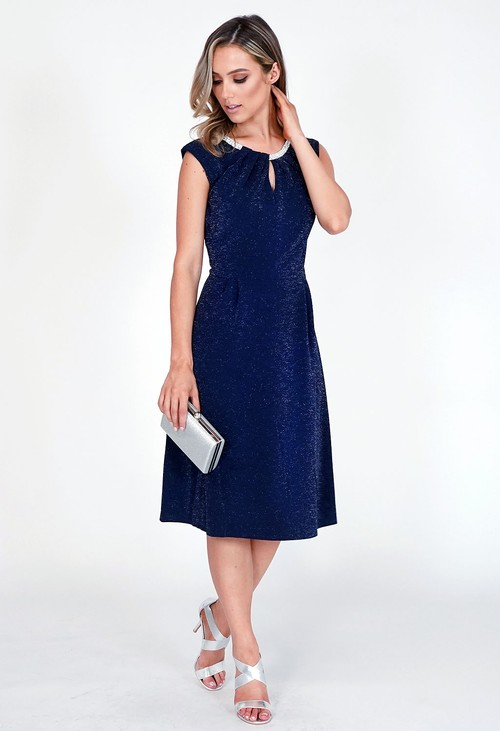Pamela Scott Navy Sparkle Diamante Detail Dress