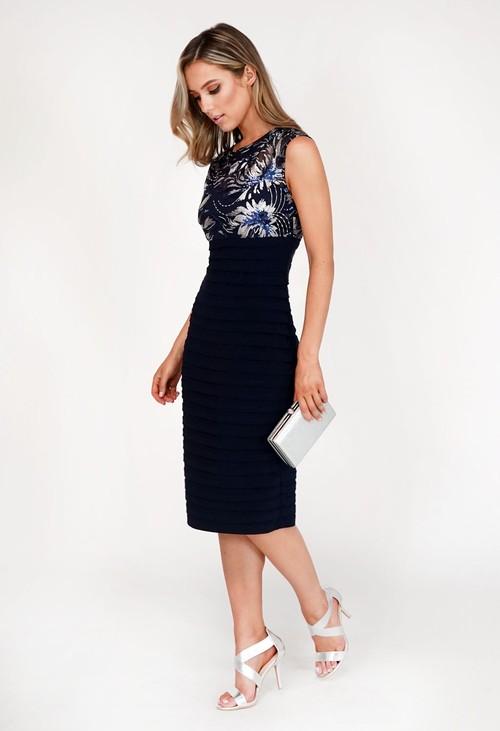 Pamela Scott Navy Embellished Lace Detail Dress