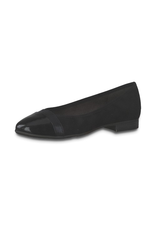 Jana Black Patent Toe Cap Pump