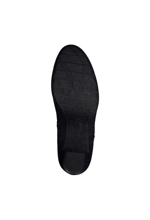 Marco Tozzi Navy Suede Effect Plain Front Block Heel Boot