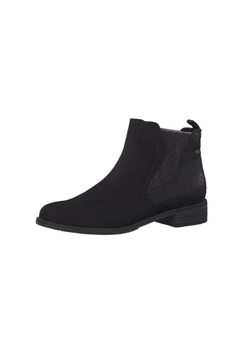 Marco Tozzi Black Suede Effect Chelsea Style Flat Boot