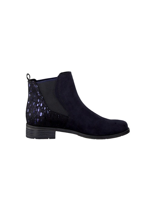 Marco Tozzi Navy Suede Effect Chelsea Style Flat Boot